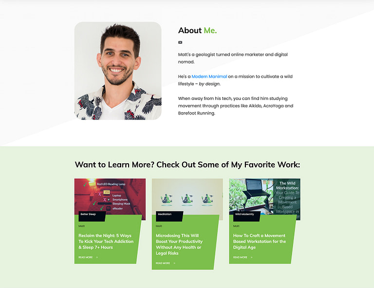 Make your About page look professional, modern and chic with Block templates.