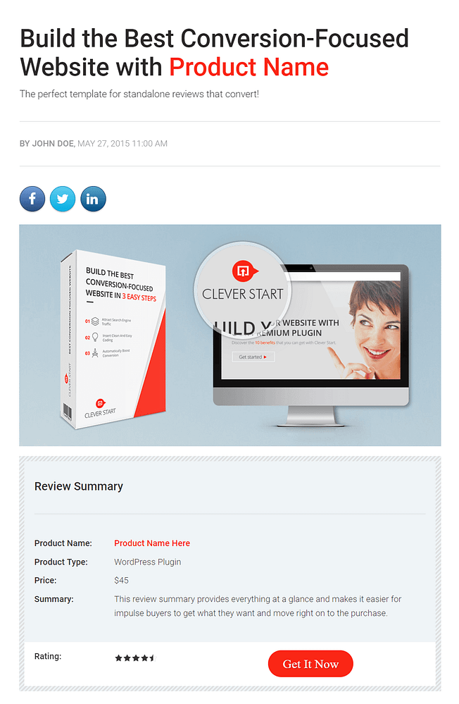 Review landing page template for affiliate marketing