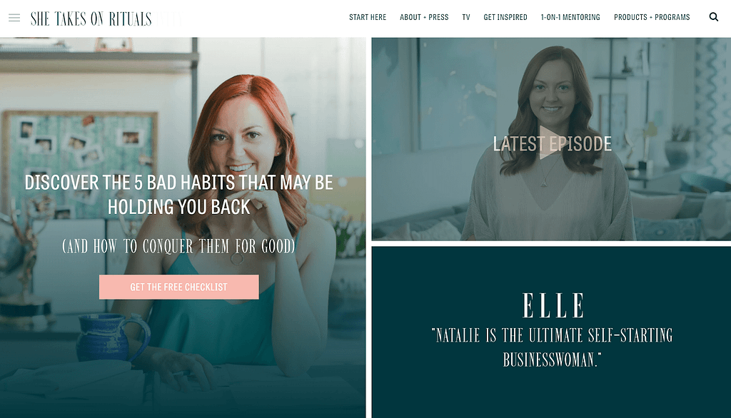 Call-to-action examples on 'She takes on the world'