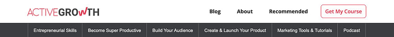 The ActiveGrowth site header showing each of the topic silo pages
