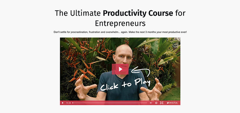 ActiveGrowth focus and action productivity course sales page