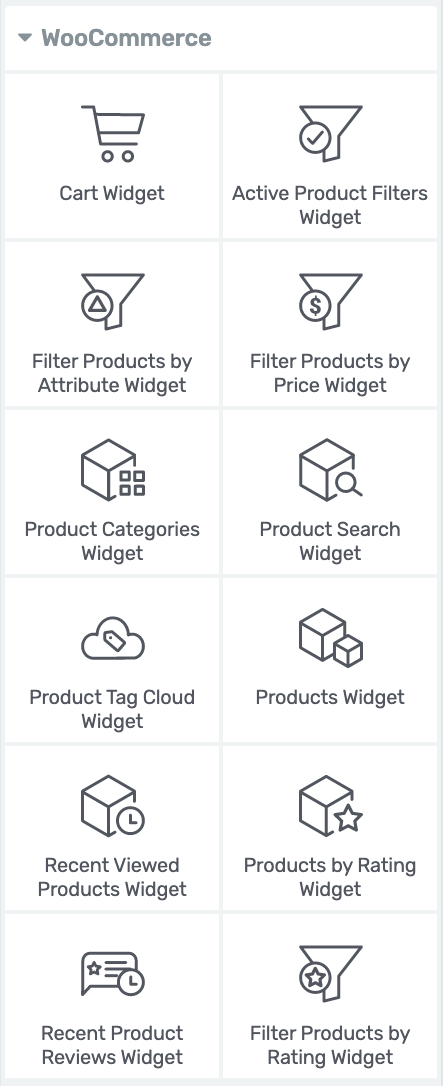 There are 12 WooCommerce Widget elements available for WooCommerce plugin users to use within the Thrive Editor