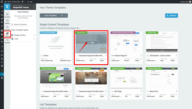Thrive Theme Builder dashboard