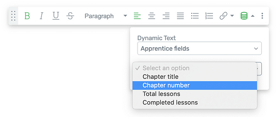 Dynamically populate Thrive Apprentice Chapter Numbers and Number of Lessons in the Apprentice Lesson List element using the Dynamic Text feature