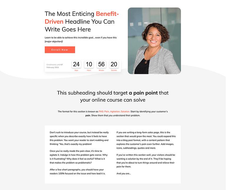 Smart Online Course Image-Driven Sales Page