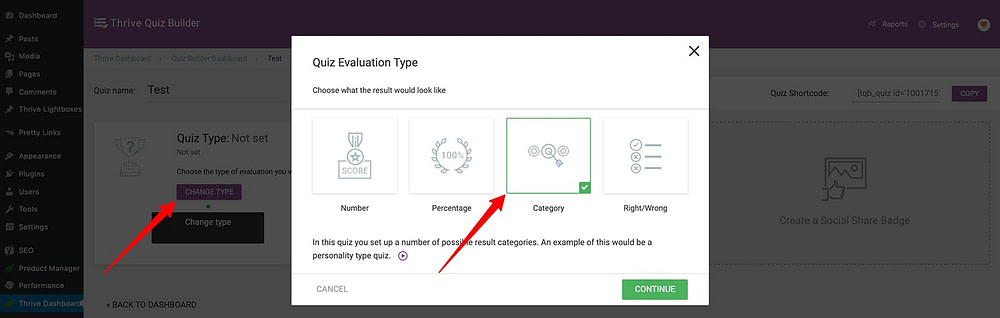How to select your quiz type in Thrive Quiz Builder