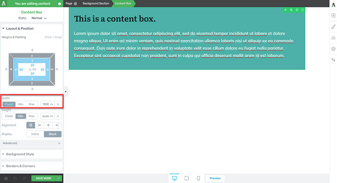 Mobile responsive large fixed width pixel quantity