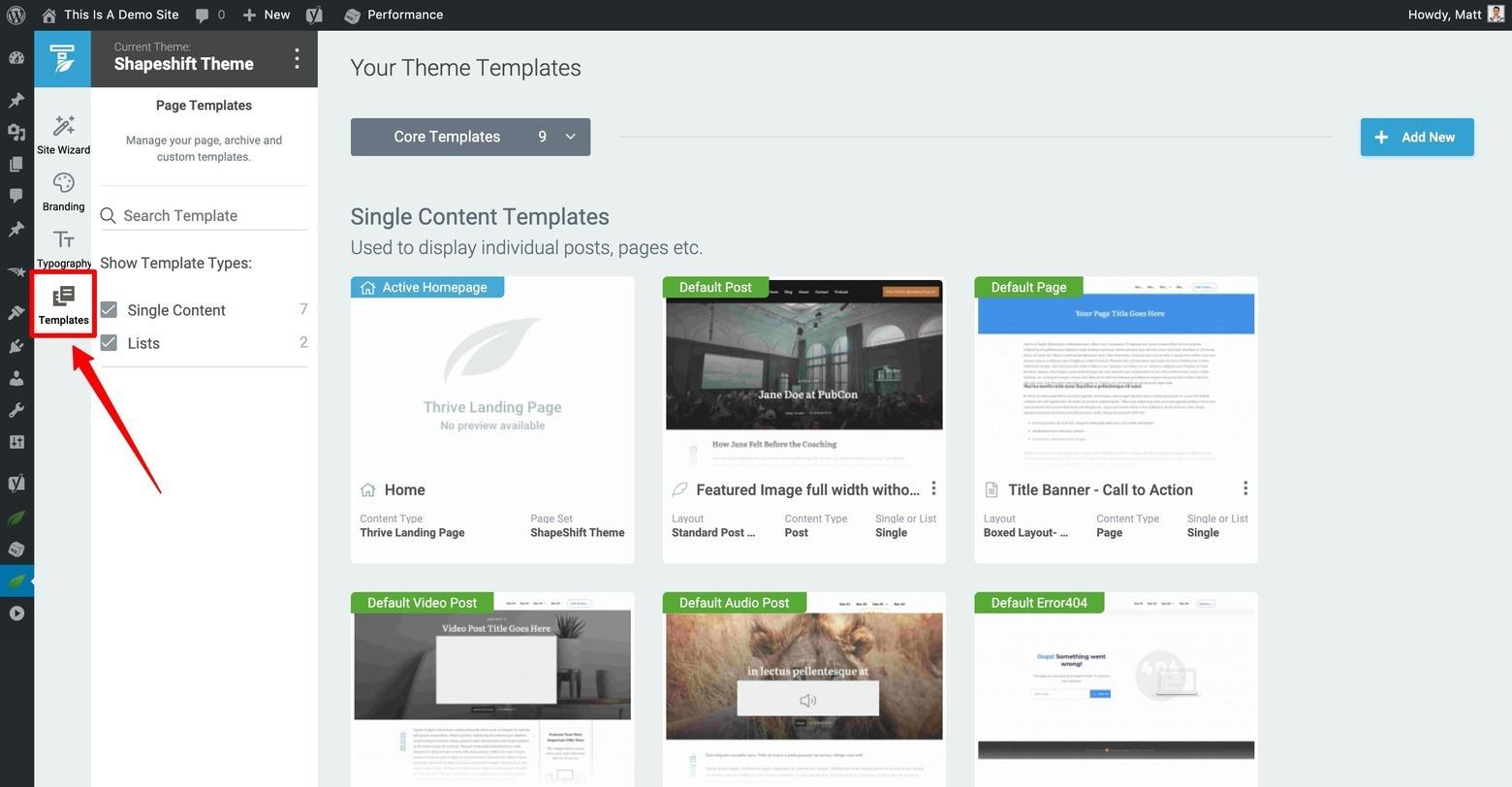 Thrive Theme Builder Templates Dashboard