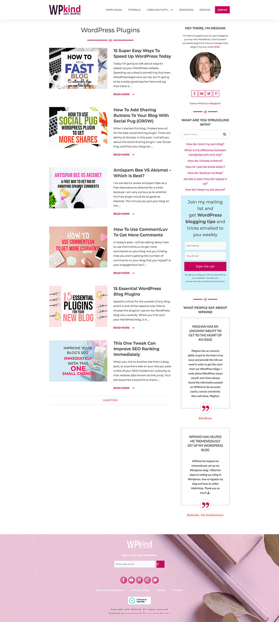 WPkind category page Thrive Theme Builder sidebar design example