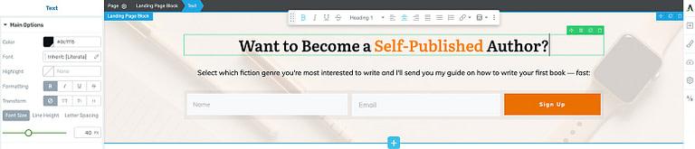 Inline edit your Thrive Architect landing page template text to clearly communicate your opt-in offer.