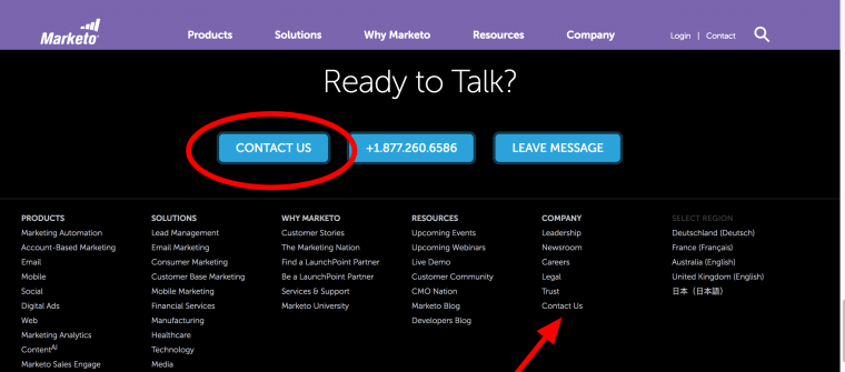 Marketo links to contact in footer
