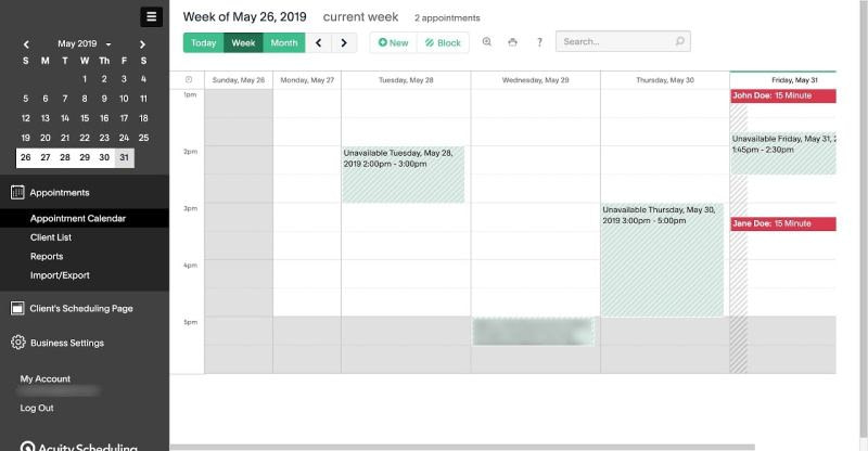 Acuity Scheduling Backend Dashboard