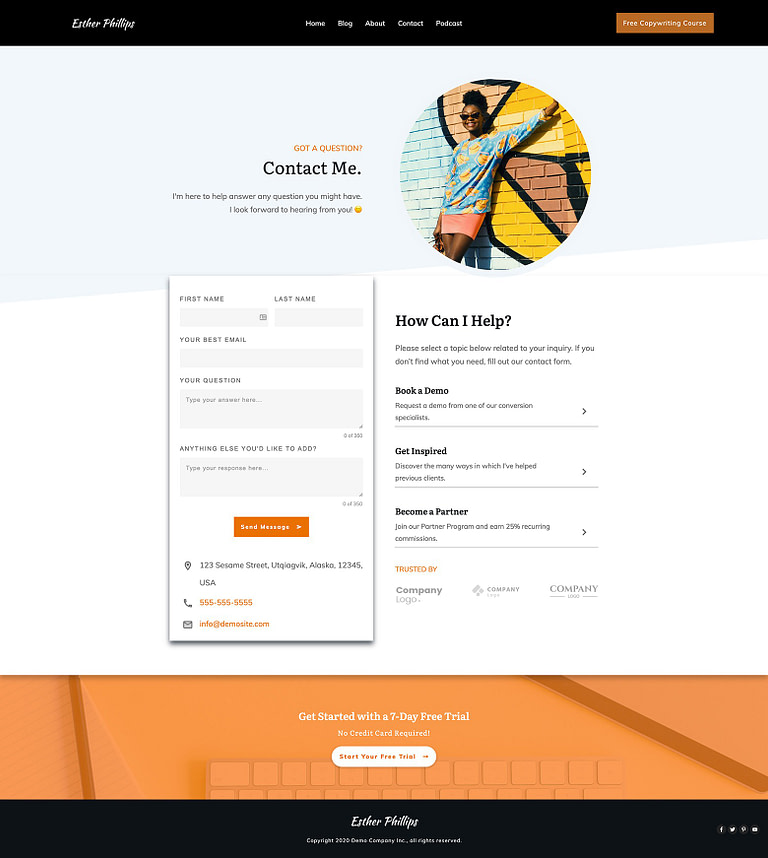 The final desktop version of a Contact page modeled after Sleeknote's design
