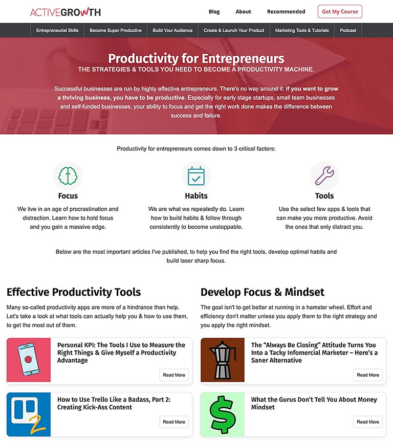 ActiveGrowth productivity topic silo page