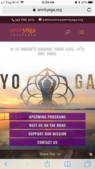 Amrit Yoga Homepage bad example
