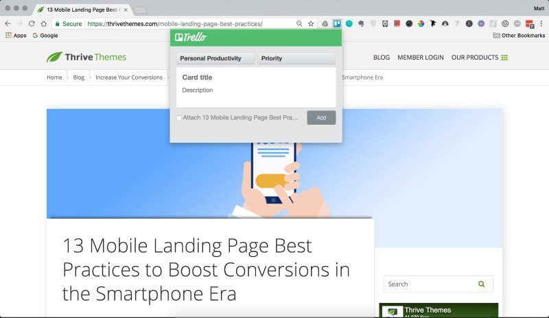 Trello Chrome extension