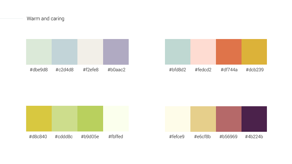 Warm and caring color schemes