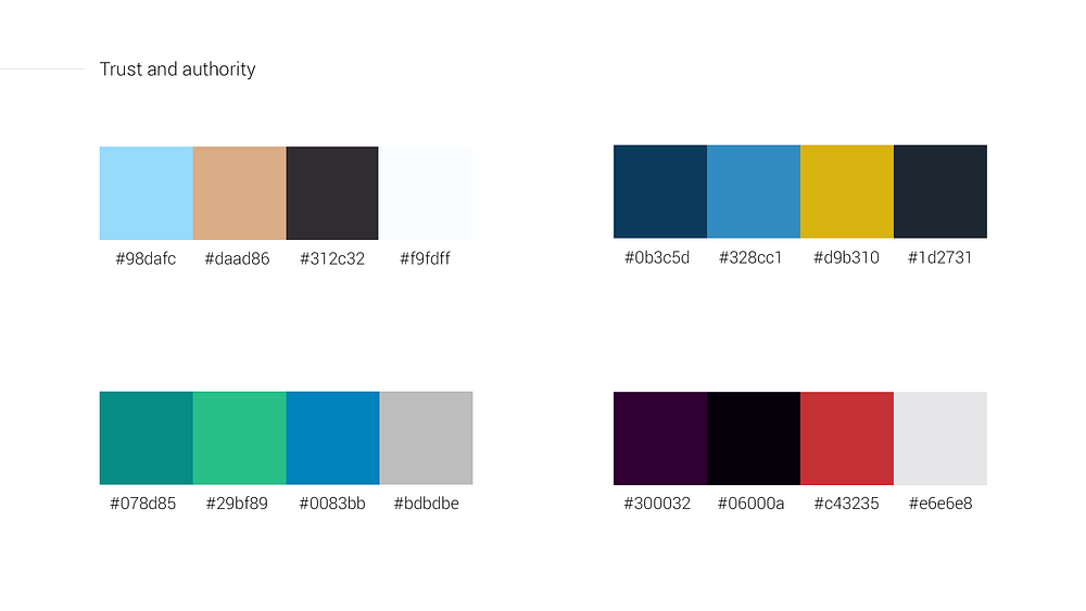Trust and authority color schemes