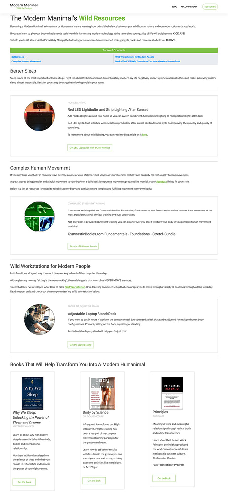 An example of an old Recommended Resources page built from scratch by a non-designer that took way too much time to complete.