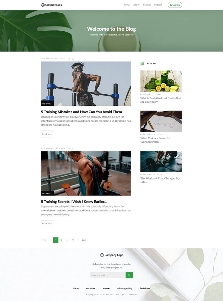 Blog List Page Example (rectangular featured images)