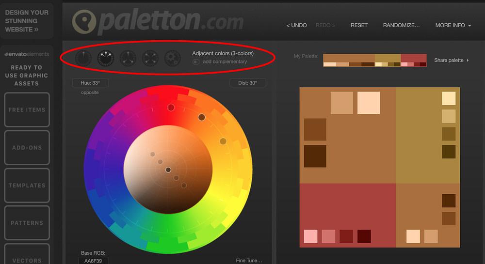 Paletton color schemes