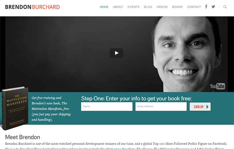 Brendon Burchard opt in offer page