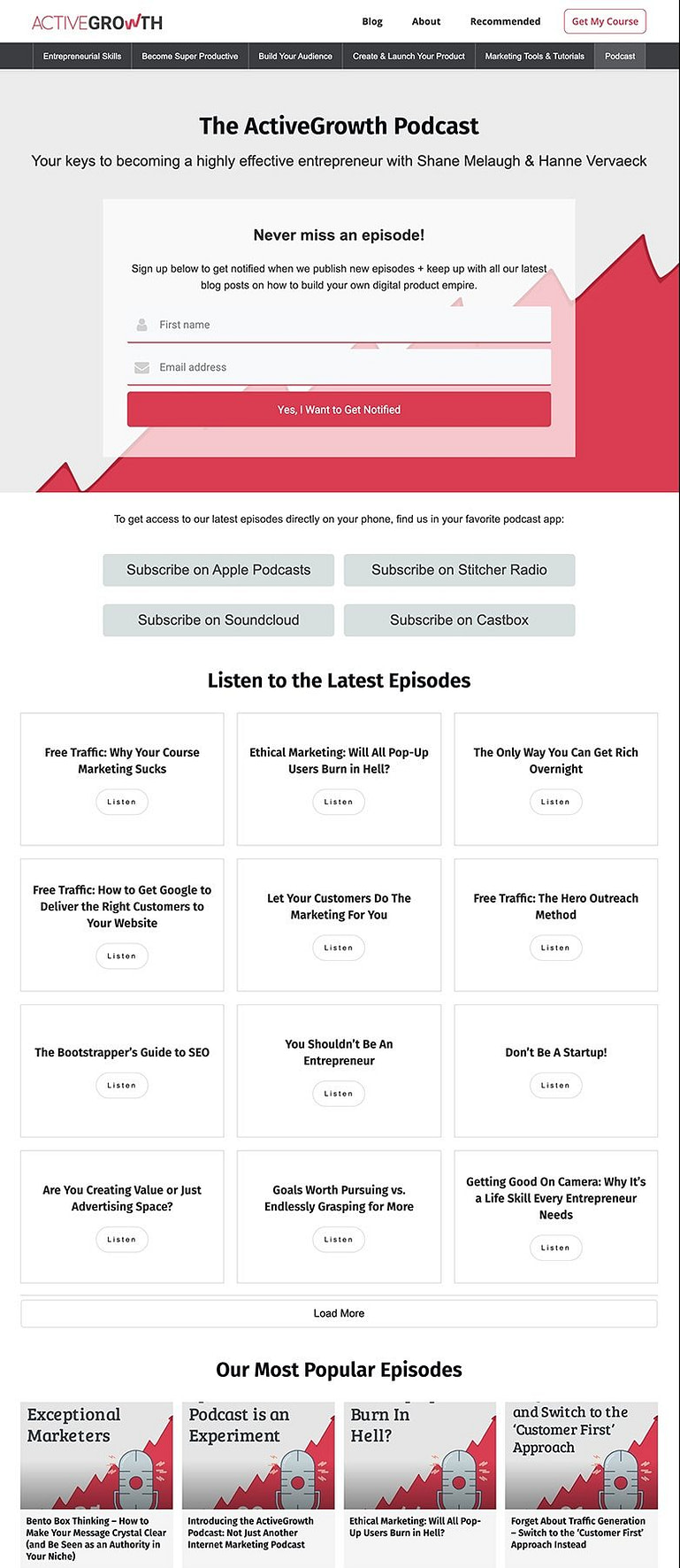 ActiveGrowth podcast silo page