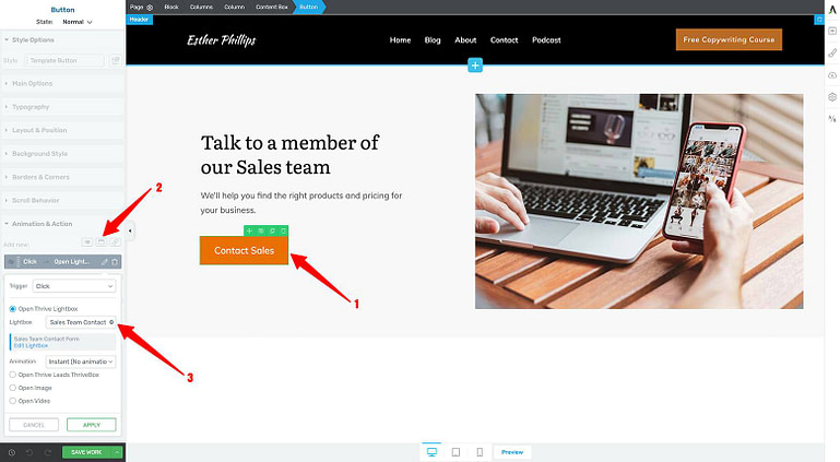 Connect your Thrive Lightbox Contact Form to your Hero Area contact button