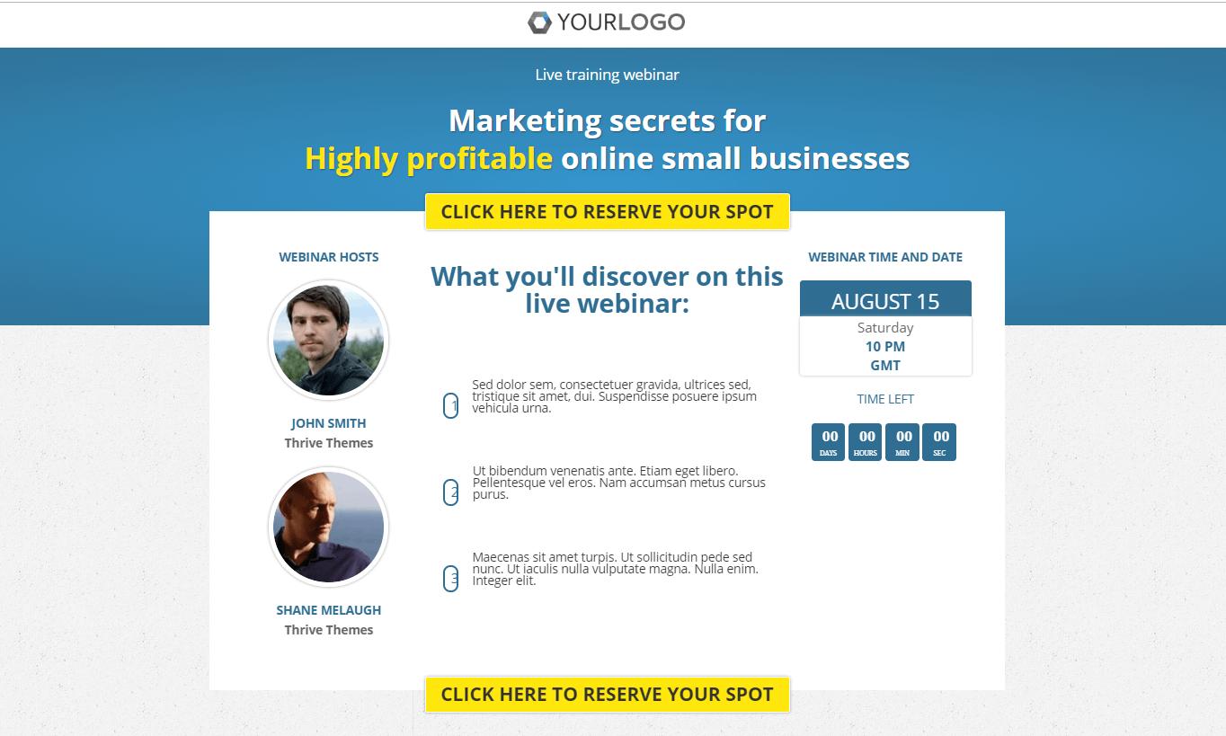 webinar signup landing page