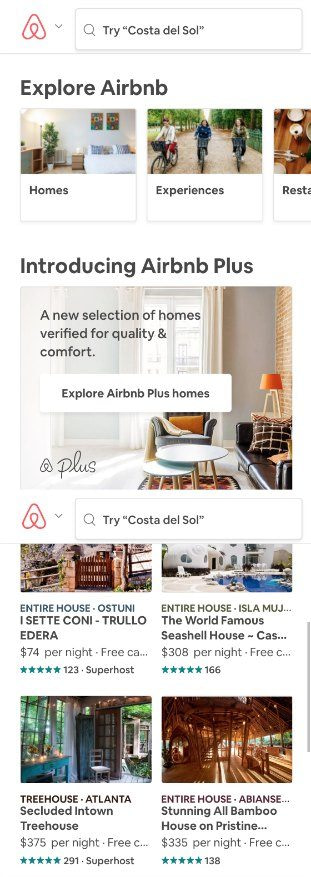 AirBnB mobile landing page bad example