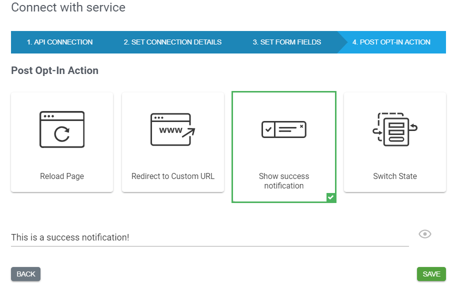 Success notification setup