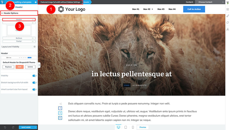 Thrive Theme Builder visual editor header customization options