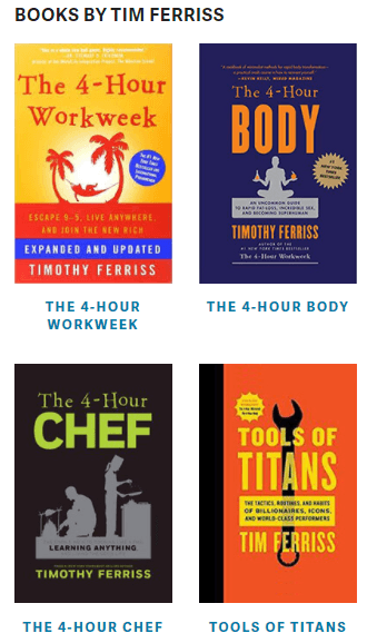 The Tim Ferriss blog showcases Tim's most popular books inside the site's sidebar