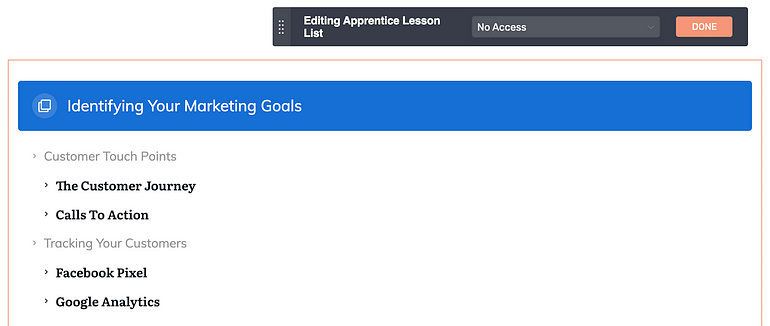 "How to customize the Apprentice Lesson List element ""No Access"" state"