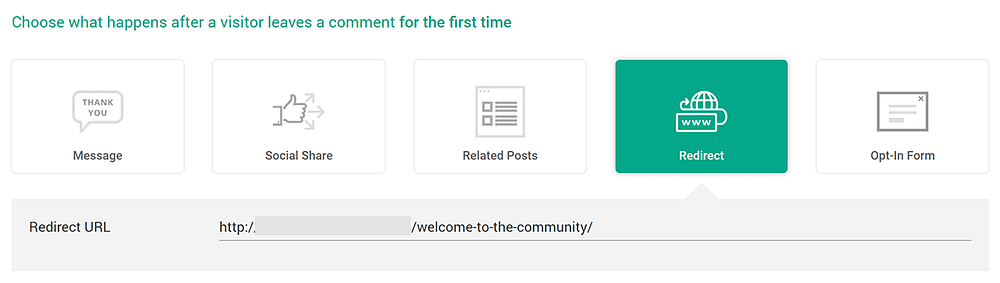 redirect URL Thrive Comments