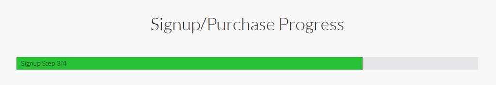 A progress bar at the top of a multistep signup/purchase sequence