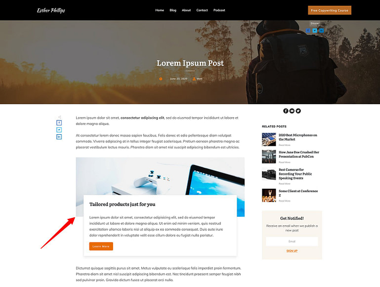 Add Block template designs directly to your blog content.
