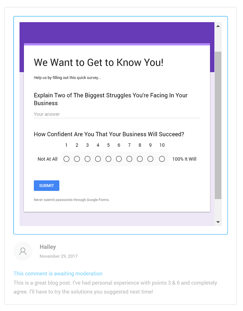 Survey in exchange of WordPress comments