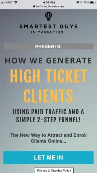 TrafficAndFunnels mobile landing page bad example
