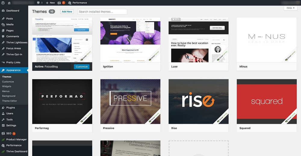The Thrive Themes showcased in the WordPress dashboard backend.