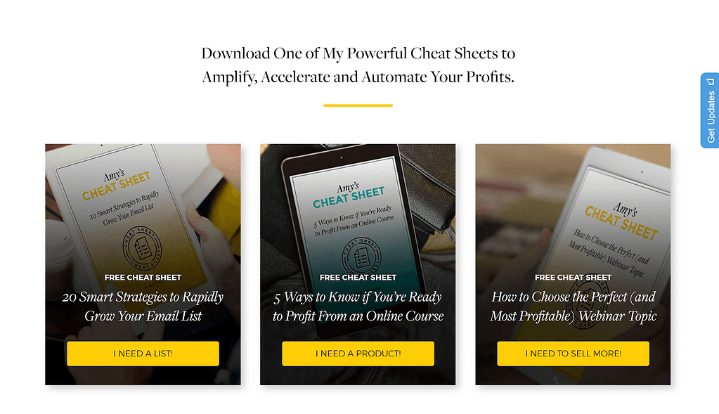 Call-to-action examples on Amy Porterfield's homepage