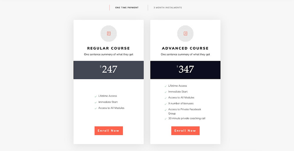 How to create a pricing table for your online course sales page
