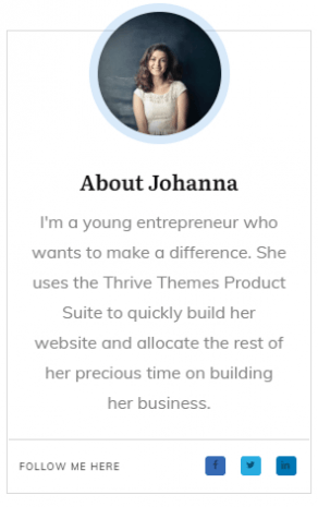 Add a mini bio box to your personal brand site sidebar