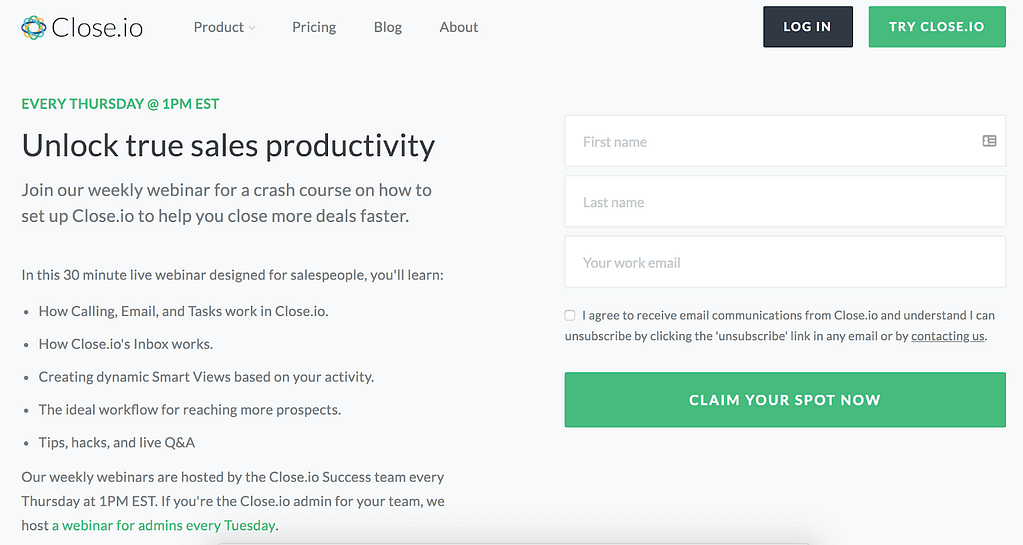call-to-action examples Close.io
