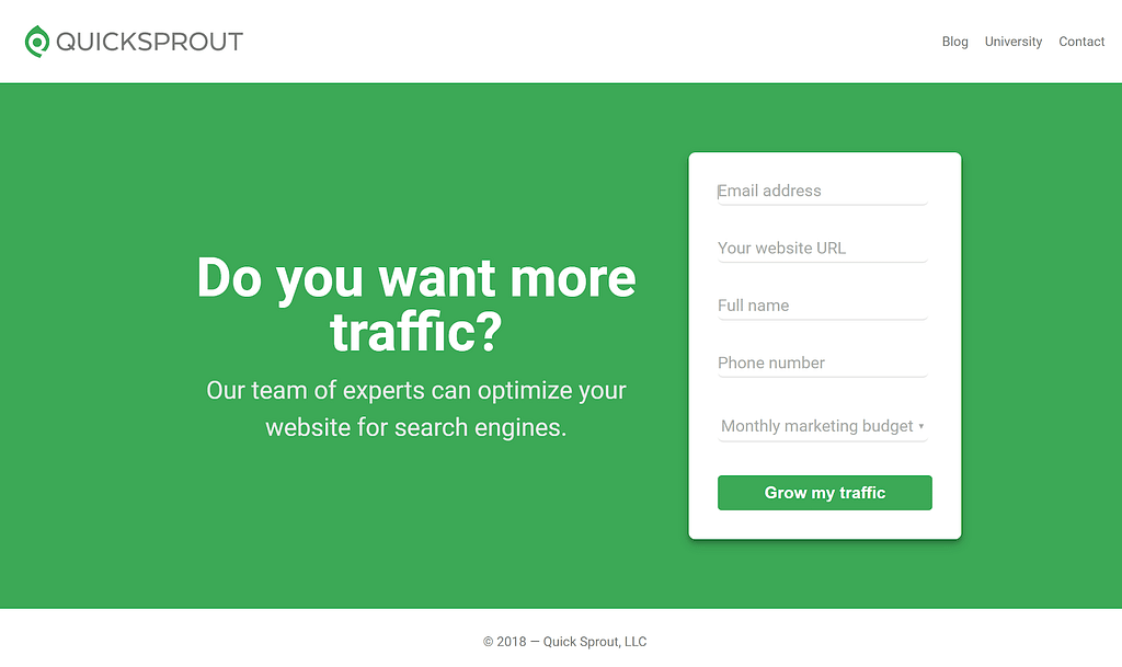 Call-to-action examples Quicksprout
