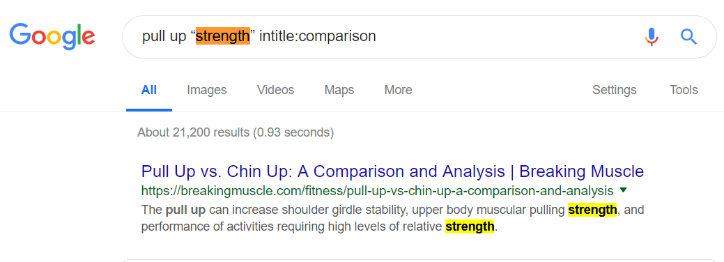 Keyword search modifier example