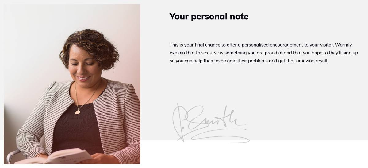 How to create a personal note section for your online course sales page