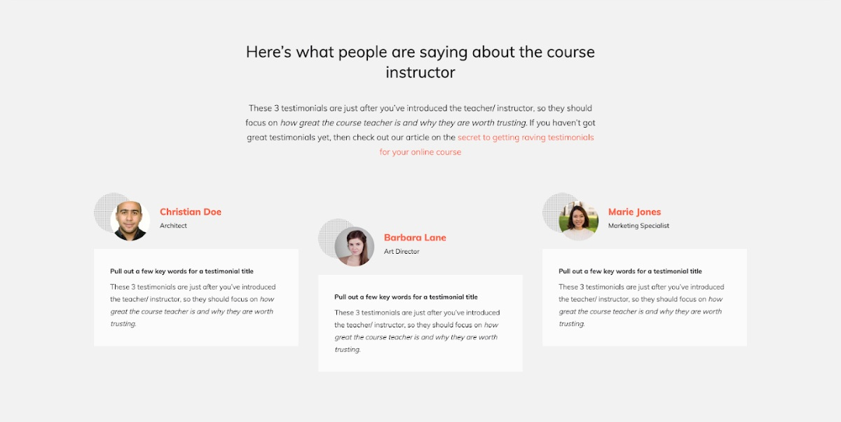 How to create a testimonials about the teacher section for your online course sales page