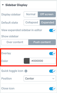 'Off screen', 'Overlay content' sidebar display options