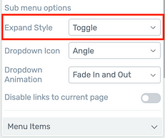 Vertical Menu 'Expand Style' options